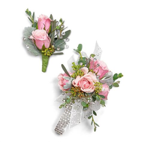 Glossy Corsage and Boutonniere Set